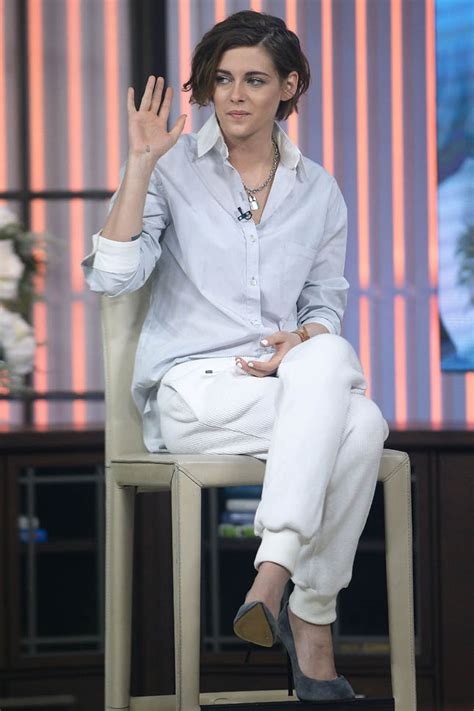 Kristen Stewart in amazing white cuffed pants and about