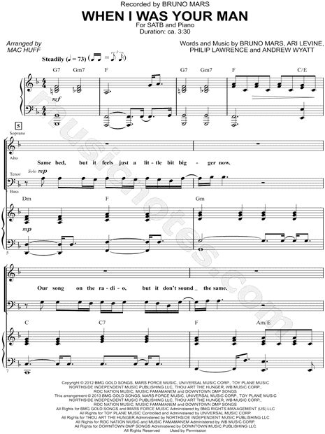 """Bruno Mars """"When I Was Your Man"""" (arr"""